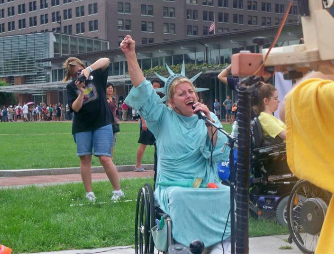 """Disability Rights Pennsylvania - Woman in Lady Liberty costume making a speech"" by the Philadelphia Bar Foundation's nonprofit partner, Legal Clinic for the Disabled"